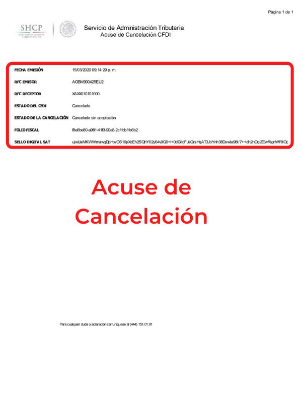 acuse cancelación